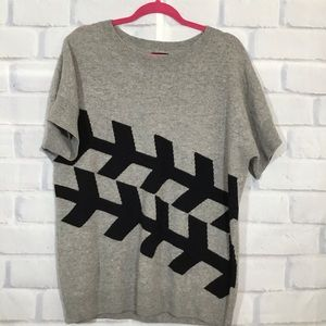Only Mine Gray 2Ply Cashmere Graphic Sweater